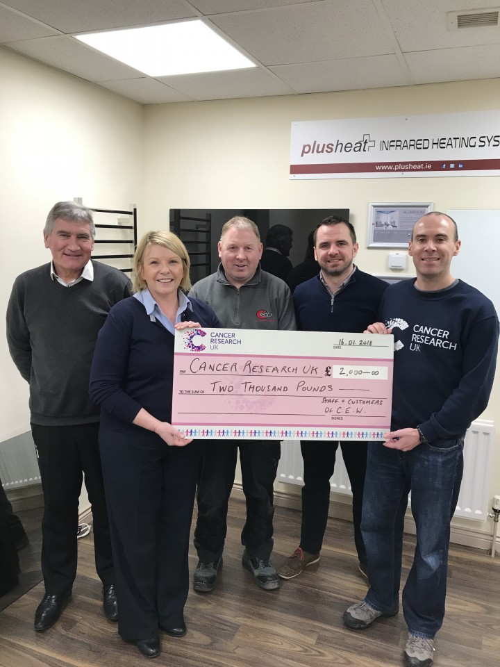 Century Electrical Present Cheque To Cancer Research